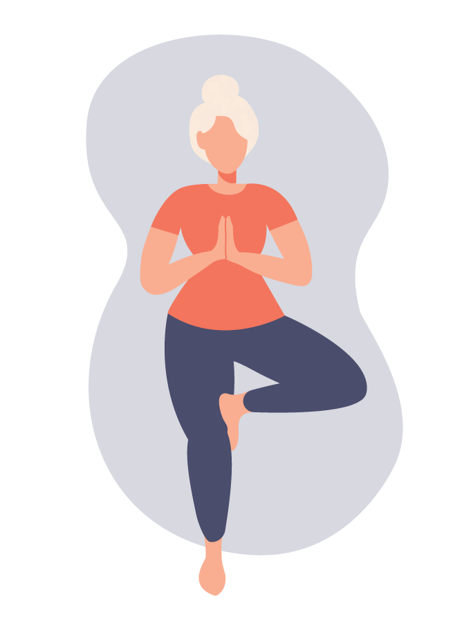 Woman in menopause doing yoga