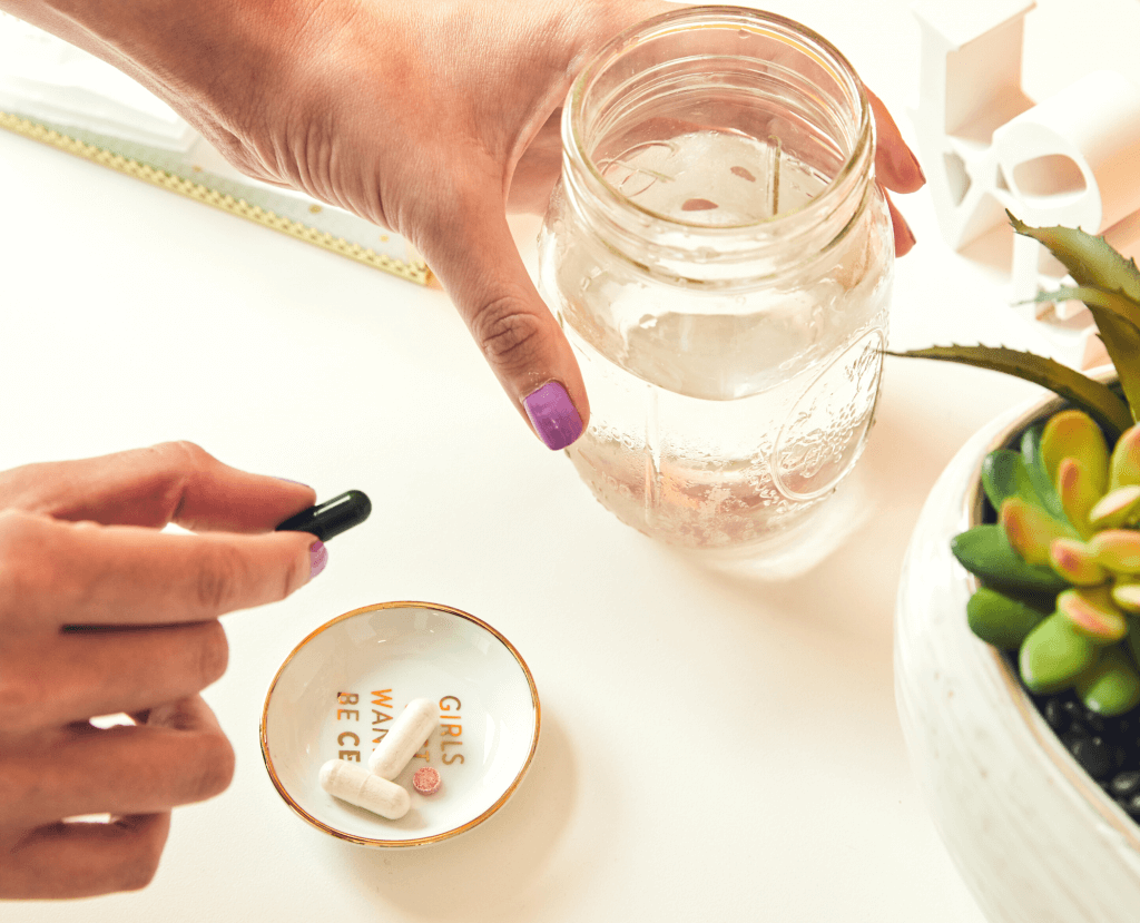 Binto probiotic and water glass
